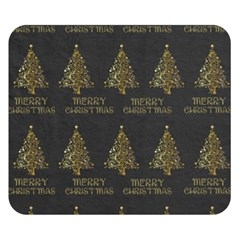 Merry Christmas Tree Typography Black And Gold Festive Double Sided Flano Blanket (small)