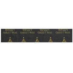 Merry Christmas Tree Typography Black And Gold Festive Flano Scarf (large)