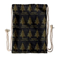 Merry Christmas Tree Typography Black And Gold Festive Drawstring Bag (large)
