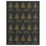 Merry Christmas Tree Typography Black And Gold Festive Drawstring Bag (Large) Front