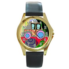 Tractor Round Gold Metal Watch