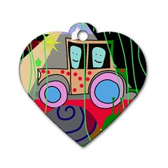 Tractor Dog Tag Heart (one Side)