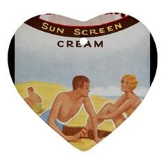 Vintage Summer Sunscreen Advertisement Ornament (Heart)