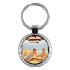 Vintage Summer Sunscreen Advertisement Key Chains (Round)