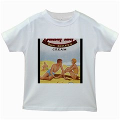 Vintage Summer Sunscreen Advertisement Kids White T-Shirts