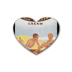 Vintage Summer Sunscreen Advertisement Heart Coaster (4 pack)