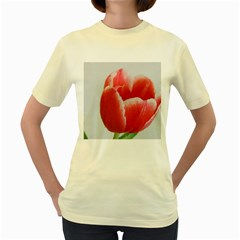 Red Tulip Watercolor Painting Women s Yellow T-Shirt