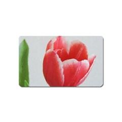 Red Tulip Watercolor Painting Magnet (Name Card)