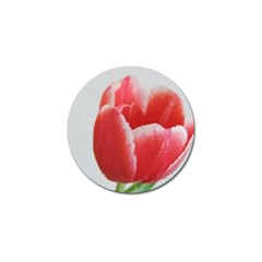 Red Tulip Watercolor Painting Golf Ball Marker