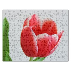 Red Tulip Watercolor Painting Rectangular Jigsaw Puzzl