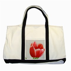 Red Tulip Watercolor Painting Two Tone Tote Bag