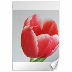 Red Tulip Watercolor Painting Canvas 24  x 36