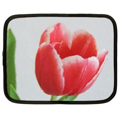 Red Tulip Watercolor Painting Netbook Case (XXL)