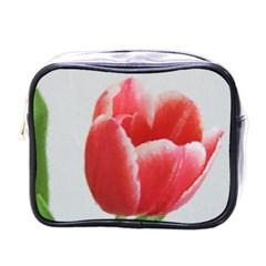 Red Tulip Watercolor Painting Mini Toiletries Bags