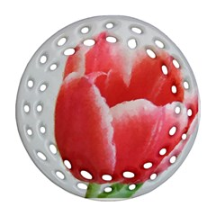 Red Tulip Watercolor Painting Ornament (Round Filigree)