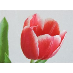 Red Tulip Watercolor Painting Birthday Cake 3D Greeting Card (7x5)