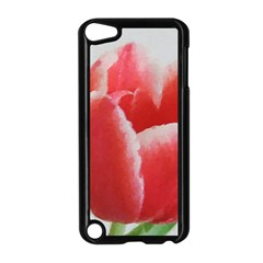 Red Tulip Watercolor Painting Apple iPod Touch 5 Case (Black)