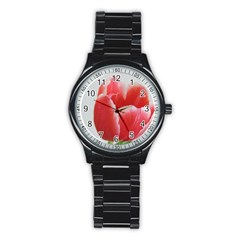 Red Tulip Watercolor Painting Stainless Steel Round Watch