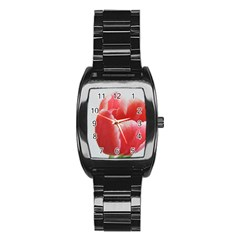 Red Tulip Watercolor Painting Stainless Steel Barrel Watch
