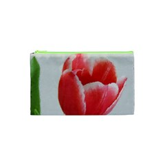 Red Tulip Watercolor Painting Cosmetic Bag (XS)