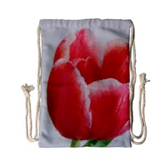 Red Tulip Watercolor Painting Drawstring Bag (Small)