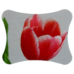 Red Tulip Watercolor Painting Jigsaw Puzzle Photo Stand (Bow)