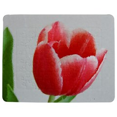 Red Tulip Watercolor Painting Jigsaw Puzzle Photo Stand (Rectangular)