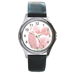 Red Tulip Pencil Drawing Round Metal Watch