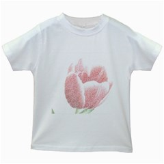Red Tulip pencil drawing Kids White T-Shirts