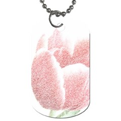 Red Tulip pencil drawing Dog Tag (Two Sides)