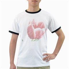 Red Tulip Pencil Drawing Ringer T Shirts