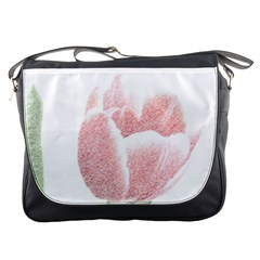 Red Tulip pencil drawing Messenger Bags