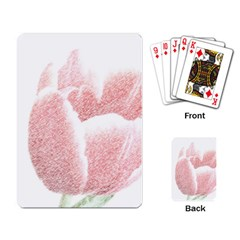 Red Tulip pencil drawing Playing Card