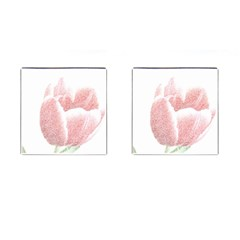 Red Tulip pencil drawing Cufflinks (Square)