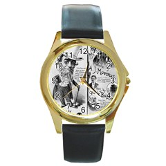 Vintage Song Sheet Lyrics Black White Typography Round Gold Metal Watch