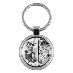 Vintage Song Sheet Lyrics Black White Typography Key Chains (Round)