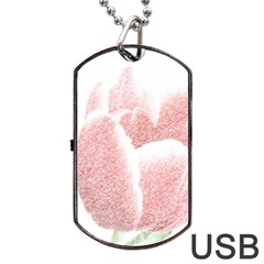 Red Tulip pencil drawing Dog Tag USB Flash (Two Sides)