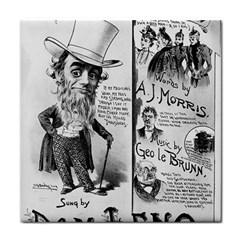 Vintage Song Sheet Lyrics Black White Typography Face Towel