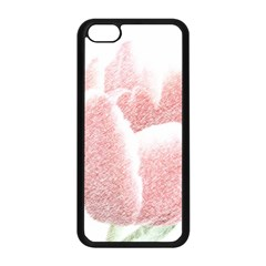 Red Tulip pencil drawing Apple iPhone 5C Seamless Case (Black)