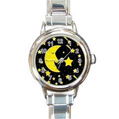 Sleeping moon Round Italian Charm Watch