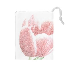Red Tulip pencil drawing Drawstring Pouches (Large)
