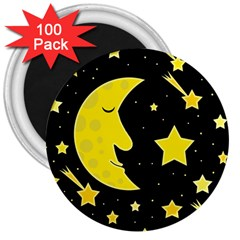 Sleeping moon 3  Magnets (100 pack)