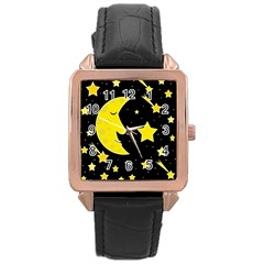 Sleeping moon Rose Gold Leather Watch