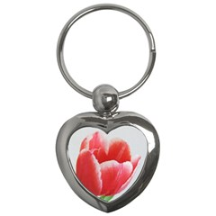 Tulip red watercolor painting Key Chains (Heart)