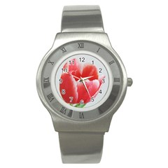 Tulip red watercolor painting Stainless Steel Watch