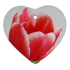 Tulip red watercolor painting Heart Ornament (2 Sides)