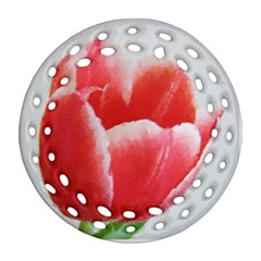 Tulip red watercolor painting Round Filigree Ornament (2Side)