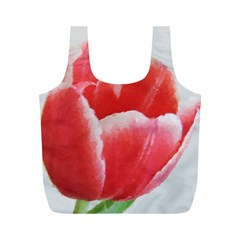 Tulip red watercolor painting Full Print Recycle Bags (M)