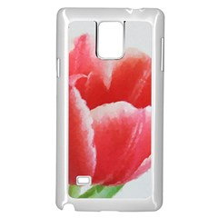 Tulip red watercolor painting Samsung Galaxy Note 4 Case (White)
