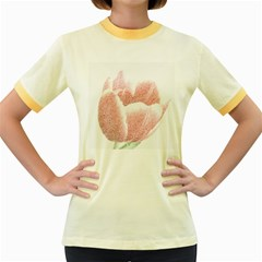 Tulip Red Pencil Drawing Art Women s Fitted Ringer T Shirts